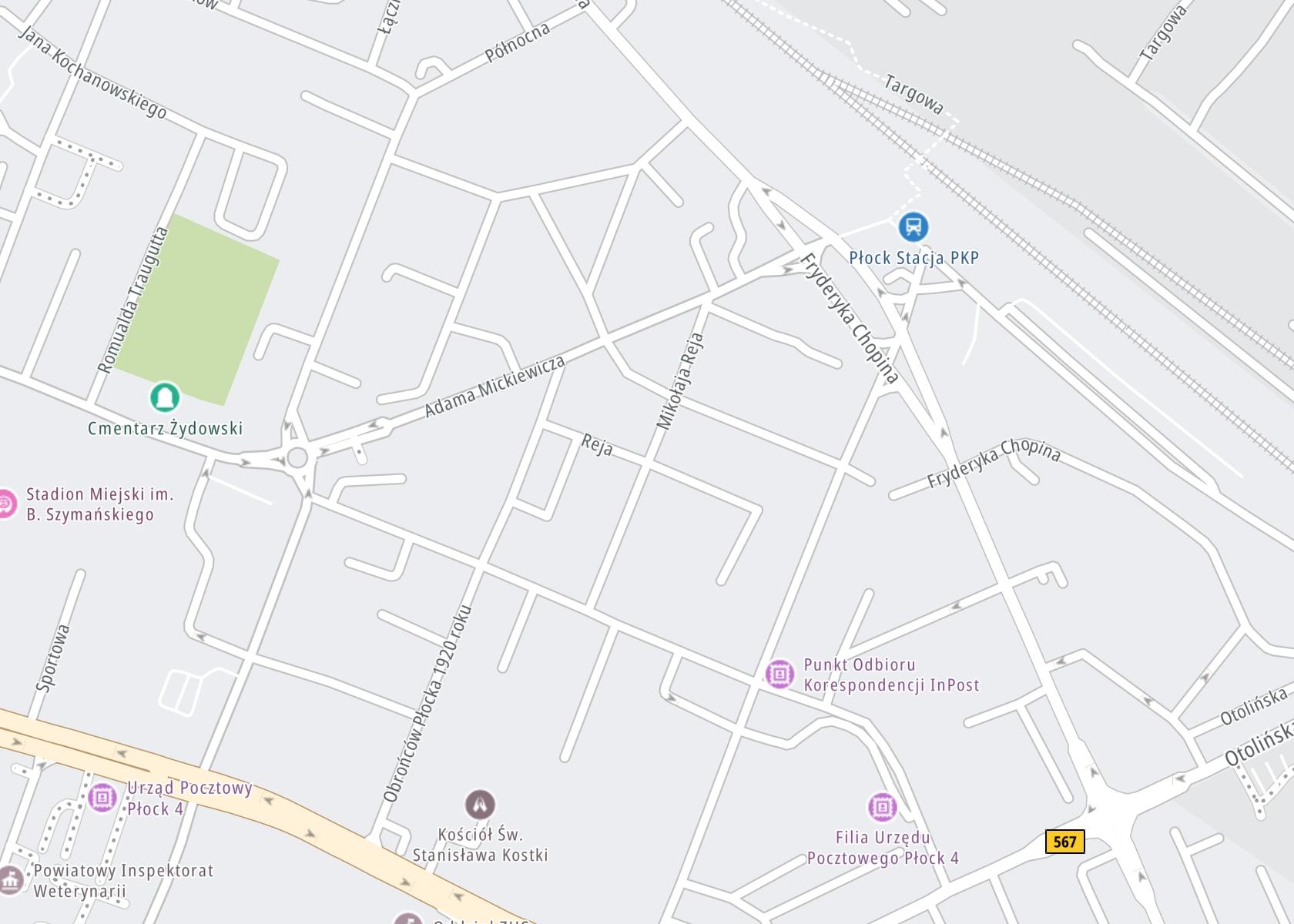 Położenie Płocki Zakład Opieki Zdrowotnej sp. z o.o. Poradnia Profilaktyki i Leczenia Uzależnień na mapie